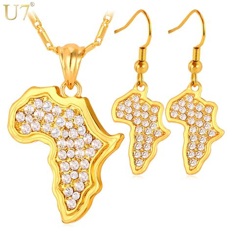 africa map pendant necklace  earrings set sale trendy yellow gold color rhinestone african