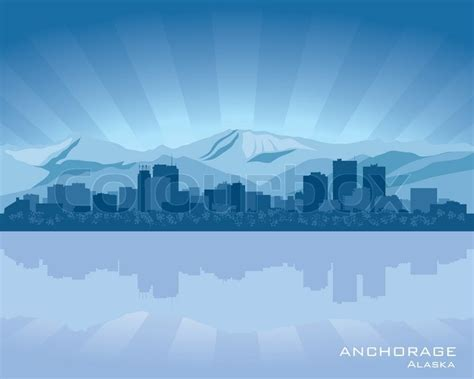 Vacation Home Plans Waterfront by Anchorage Alaska Skyline Stock Vector Colourbox