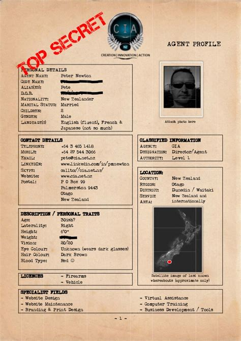 Cia Agent Profile Peter Newton Fbi Dossier Template