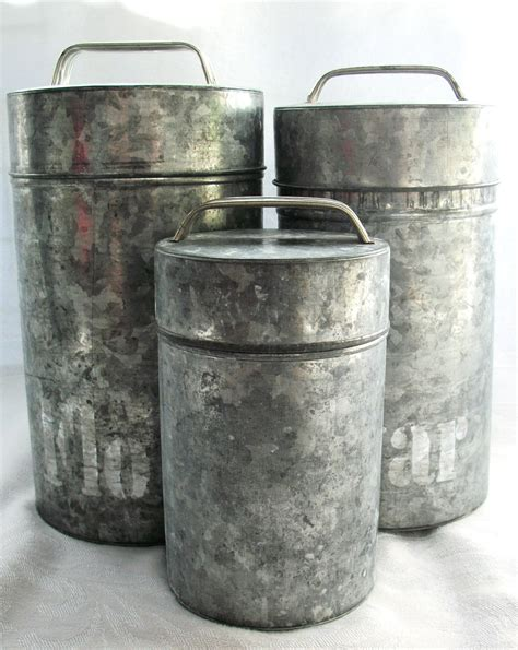 Vintage Galvanized Canister Set Metal No by