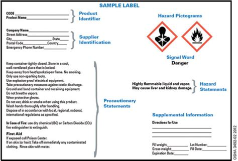 free msds label template secondary container label requirements osha popular sles templates