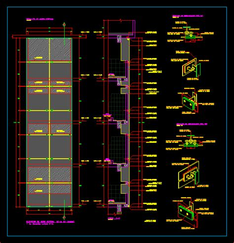 curtain wall detail cad dwg projects 3d projects cad tools 3ds max dxf