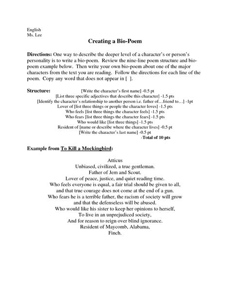 character biography exle best photos of bio poem exles poetry bio poem