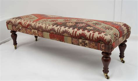 kilim ottoman bench custom ottoman bench upholstered with turkish kilim at 1stdibs