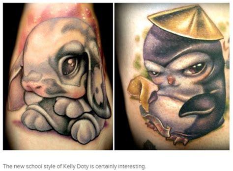 new school rabbit tattoo new school bunny penguin tattoo by kelly doty tattoos
