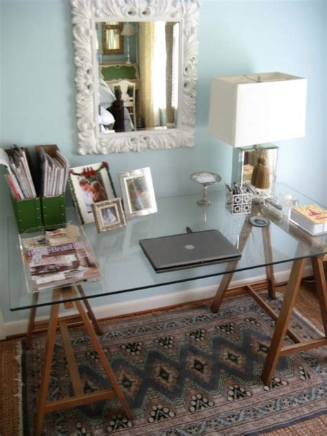 Picture Of Diy Sawhorse Desk With A Glass Top Diy Sawhorse Desk