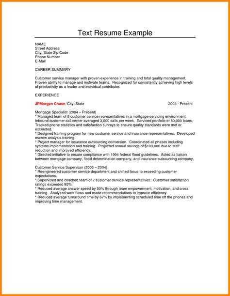 text template 10 plain text format resume address exle