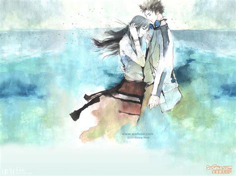 wallpaper couple art 非主流卡通图片 两个人的幸福 七七空间 qqkj