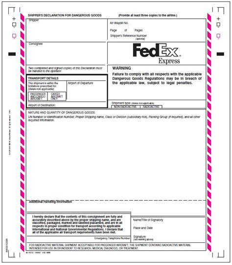 dangerous goods note template word fedex forms related keywords fedex forms keywords keywordsking