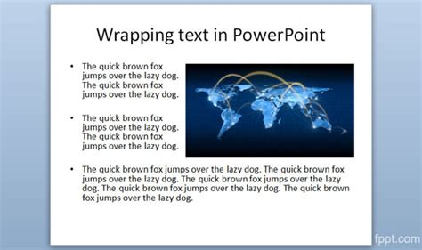 Wrapping text around an image in PowerPoint