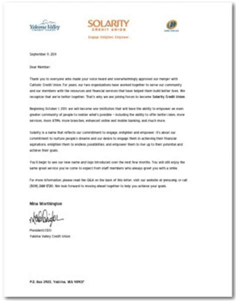 Letter Cancellation Credit Protect Plus Merged Credit Unions Roll Out New Brand As They Form Solarity