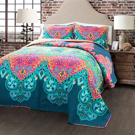 Quilt Decor by Lush D 233 Cor 174 Boho Chic Quilt Set Turquoise Boscov S