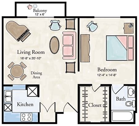 one bedroom floor plans independent living one bedroom apartment floor plans