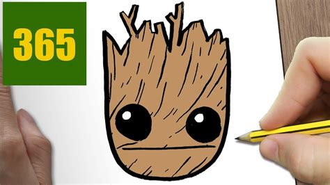 365 Sketches Drawings by How To Draw A Groot Easy Step By Step Drawing