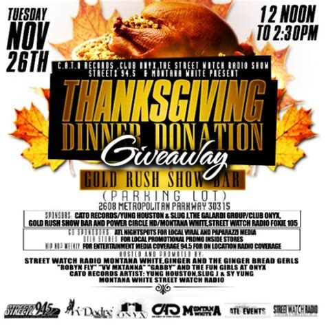 Thanksgiving Dinner Giveaway - tues 11 26 12pm 2 30pm turkey give away thanksgiving dinner donation giveaway