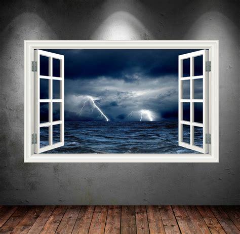 Printed Wall Murals 3d night sky stormy sea window wall sticker wsd24 wall