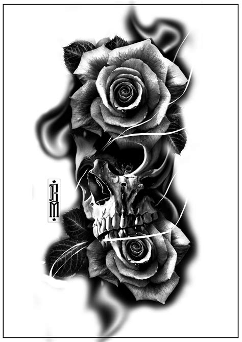 black rose and skull tattoo skull roses smoke design forearm tattoos digital