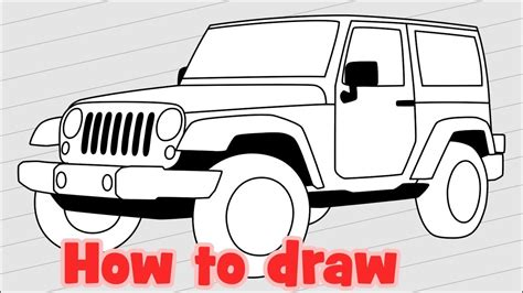 4 door jeep drawing how to draw jeep wrangler jk 4 door