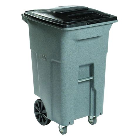 64 gallon trash can toter 64 gal grey wheeled trash can with casters acc64 01gst the home depot