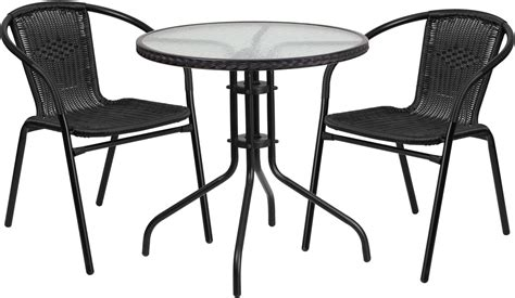 28 quot glass metal table with black rattan edging and 2