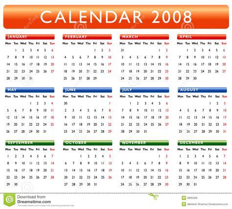 Calendario Ano 2008 Calendar 2008 Royalty Free Stock Image Image 2890466