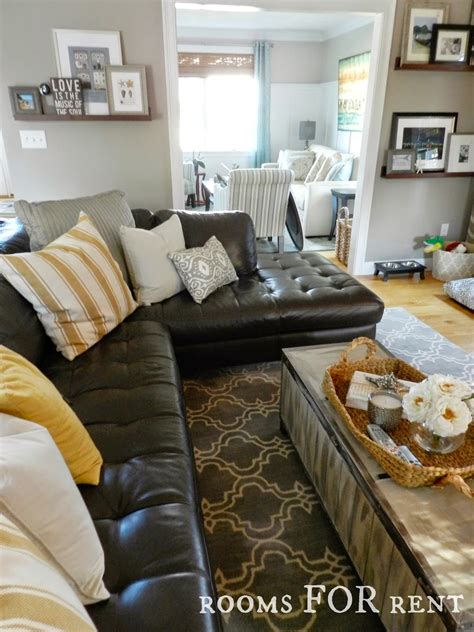style  dark leather sofa den makeover beneath