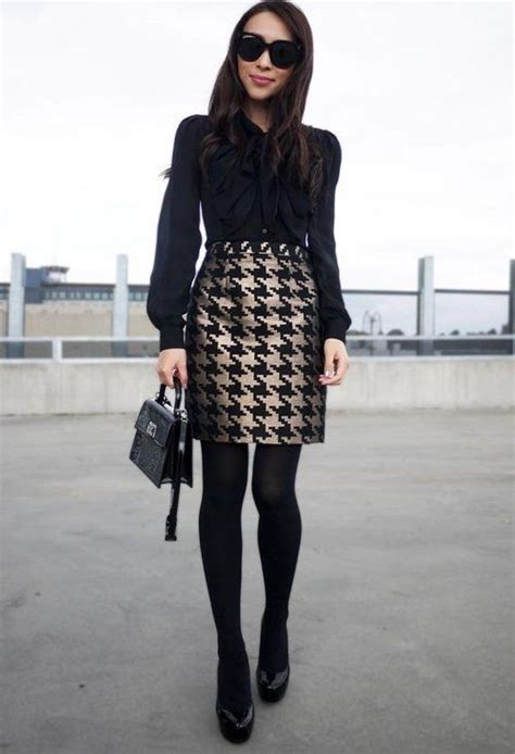 patterned tights interview picture of an all black look with a patterned skirt