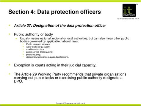 data protection section 29 appointing a data protection officer under the gdpr