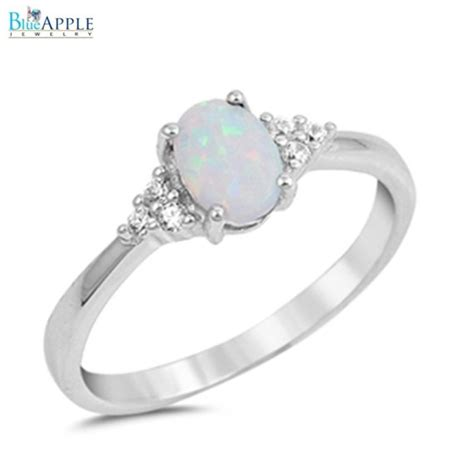 oval cut white opal ring solid 925 sterling silver lab
