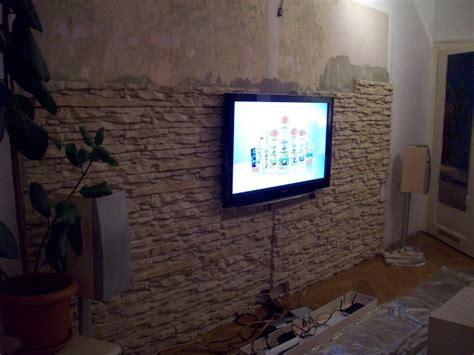 steinwand im wohnzimmer steinwand wohnzimmer fernseher kreative deko ideen und