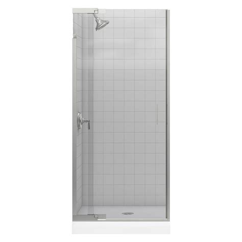 Kohler Glass Shower Doors Kohler Purist 33 In X 72 In Heavy Semi Frameless Pivot Shower Door In Vibrant Brushed Nickel