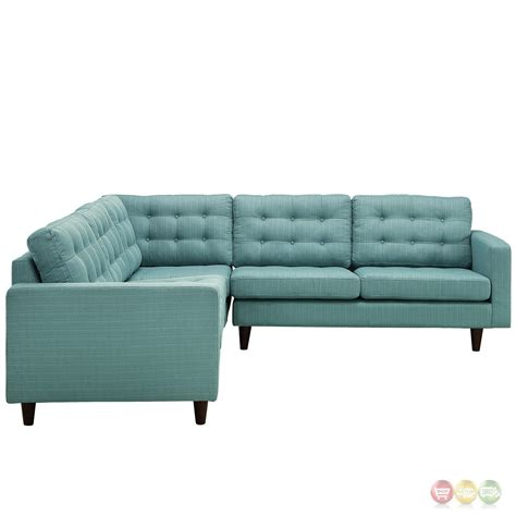empress 3 piece button tufted upholstered sectional sofa
