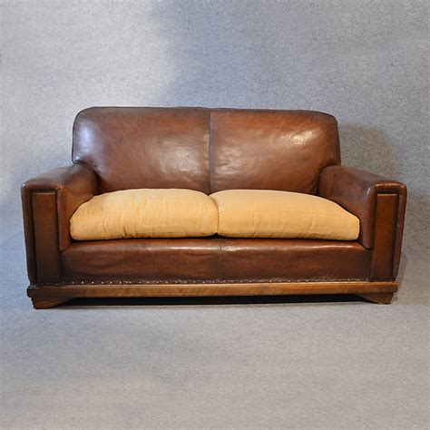 Sofa Vintage Leather Antique 2 Seater Club Settee Vintage Leather Sofa