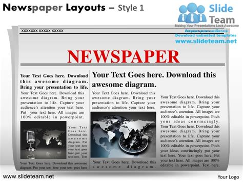 News On Newspaper Layouts Design 1 Powerpoint Ppt Slides Newspaper Powerpoint Template