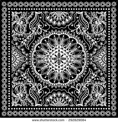 black bandana print silk neck scarf or kerchief square