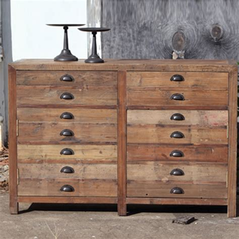 park hill reclaimed wood map drawer nb