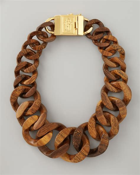 necklace wooden lyst burch graduated wooden chain necklace in brown
