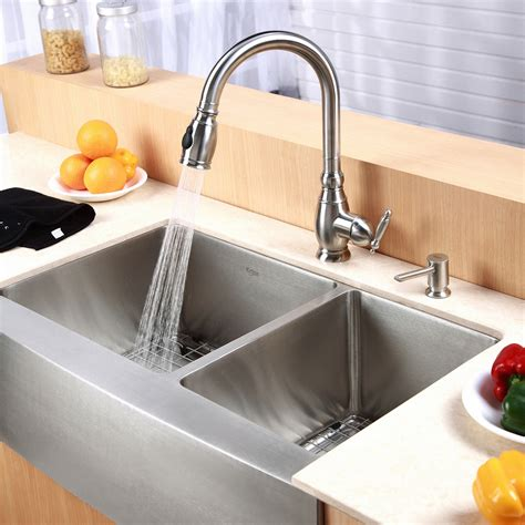 kraus farmhouse 33 quot 60 40 double bowl kitchen sink