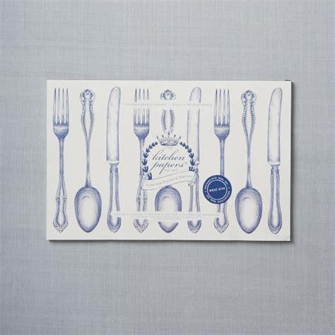 kitchen paper placemats white utensils west elm