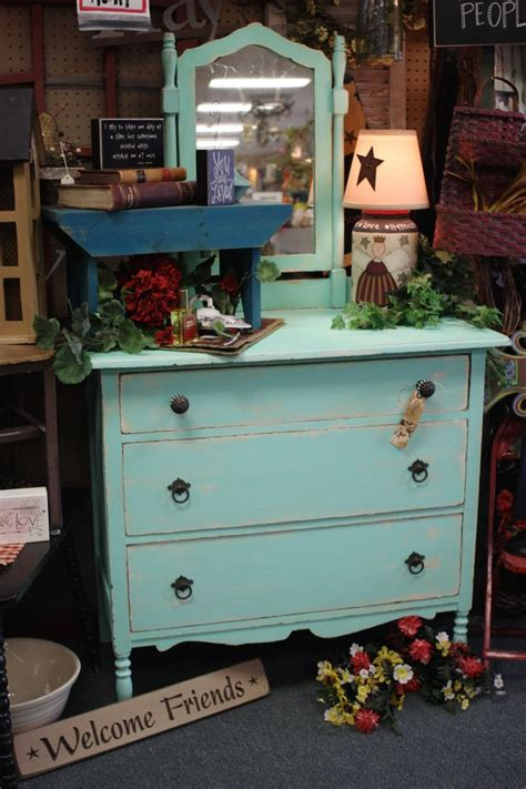 Homestead Handcrafts San Antonio - painted minty green vintage vanity at homestead