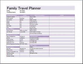 ms excel family travel planner template word amp excel