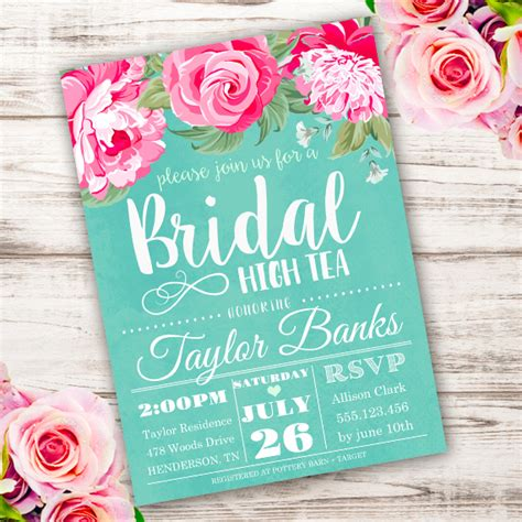 Bridal High Tea Invitation Template Edit With Adobe Readerparty Printables Teacup Invitations Template