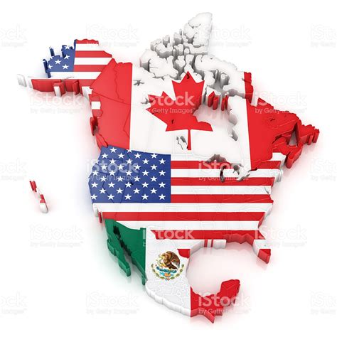 north america map with flags north america map with flags of usa canada and mexico