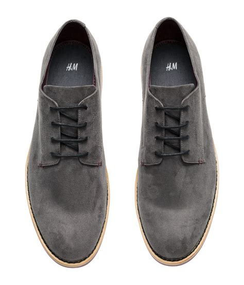 hm shoes h m derby shoes in gray for lyst