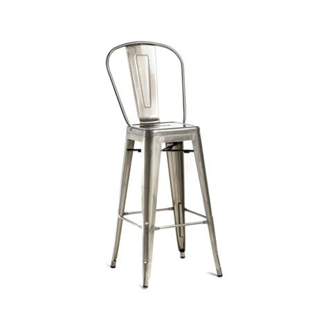 high back galvanized brushed nickel finish tolix bar stool