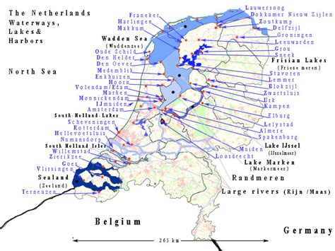 netherlands lakes map the netherlands waterways lakes and harbors