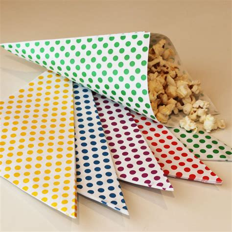 How To Make Paper Cones For Food - paper cone bags nut and popcorn bags favor bags treat