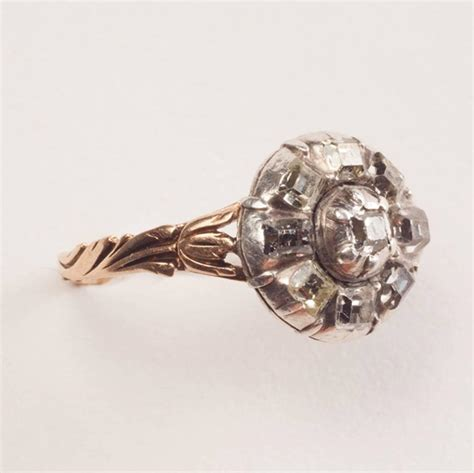 18th century table cut silver gold tulip ring for