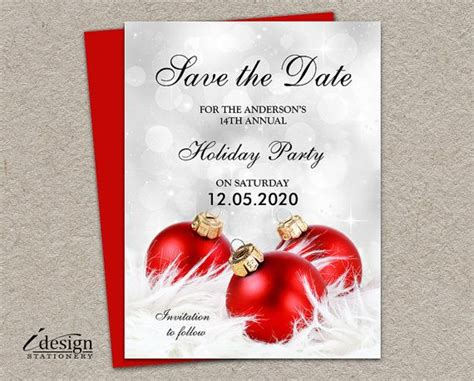 holiday party save  date cards diy idesignstationery  etsy  christmas  holiday
