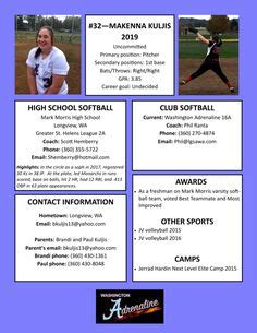 sports profile template softball resume sports resumes recruiting flyers